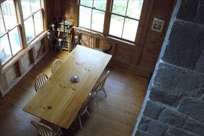 View of dining area from loft