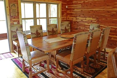 Dining Table has seating for 10.