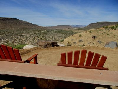 Overlook Facing West to Pipes Canyon Rd & Pappy & Harriet's in Pioneer Town