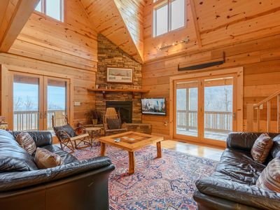 Photo for Cabin with Loft, Game Room, Hot Tub, Garage, Mountain Views, Pool Table, AC, Wrap Around Porches
