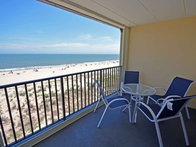 Photo for Nice, cozy 2 bedroom oceanfront condo with free WiFi, impeccable style, and a breathtaking ocean view located midtown and only steps to the beach!