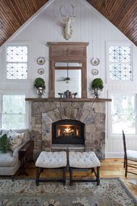 Great room fireplace as featured in Cottage Journal magazine, Winter 2017.