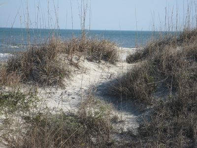 Private beach access.  Dunes only one hundred steps from our property.