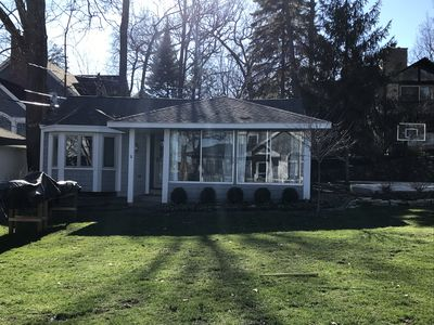 Photo for Lake Geneva cottage, private but just steps from lake and swimming pi