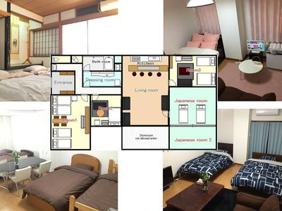 Photo for over 180m2 big apartment !! good for big group !!near any namba station !!