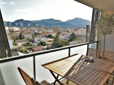 Photo for 3 room apartment terrace 10 minutes walk from the Prado beaches