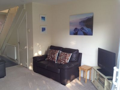 Photo for Central Cornwall, 2 Double Bedroom Holiday Home, patio overlooking play park.