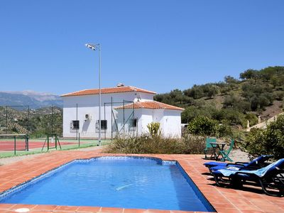 Photo for Detached house with private swimming pool and floodlit tennis court, near Arenas