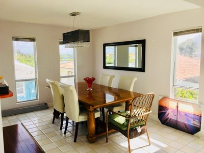 Large dining area off full kitchen