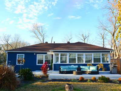 Photo for Relax! Bay views, Pool, Fire Pit & Walk to Beach - perfect for families!