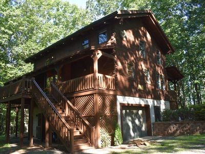 Photo for Luxury cabin in the woods, 2 bedrooms plus loft