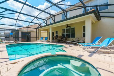 Private Screened Pool with Spa