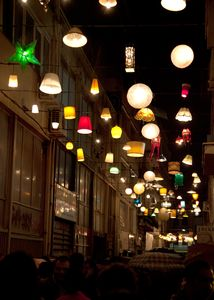 Famous Pittaki street with its hanging lights