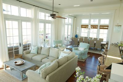 Huge great room. Wall of french doors lead to the additional outdoor living area