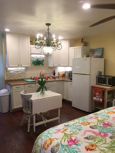 Kitchenette and table.