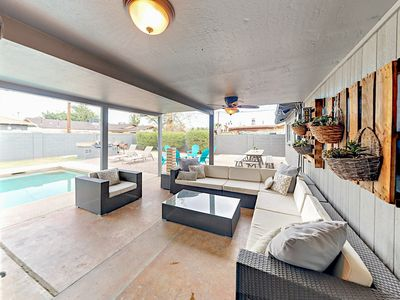Patio - Welcome to Scottsdale! Prime indoor/outdoor living awaits with a covered patio lounge area and ultra-private pool.