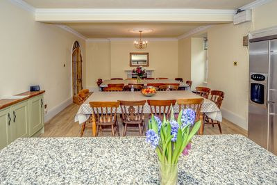 The huge Kitchen Dining room seats up to 26 guests and is ideal for celebrations