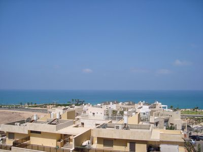 Beautiful view overlooking the Mediterranean Sea from our balcony.