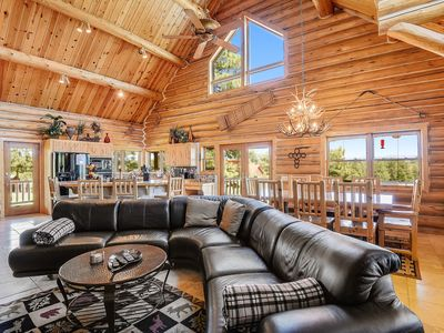 Photo for Lux lodge w/ amazing mountain view, hot tub, game room & deck - near golf, more