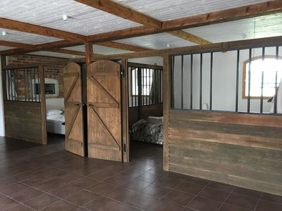 Two bedrooms set in horse boxes