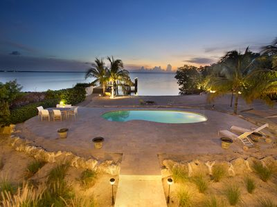 Photo for Direct Bay Sunsets, Sandy Beach, Pool, Dock, West Indies Decor