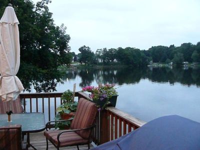 Waterview off deck which overhangs Lake Lashaway