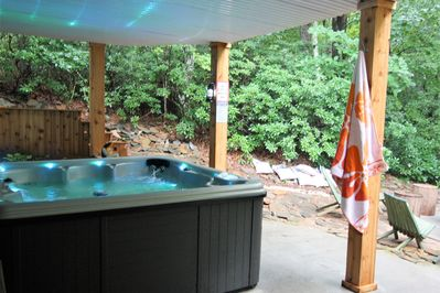 our awesome new hot tub with beautiful wooded views!
