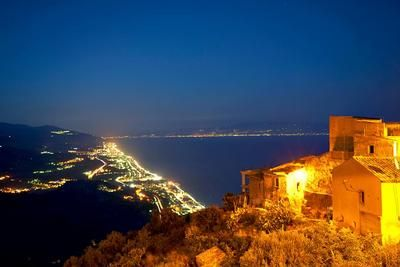 stunning view from Forza d'Agrò to Messina/Calabria