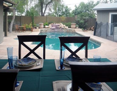 Photo for An easy walk to Old Town, Heated Pool & Wood Burning Stove on Patio!