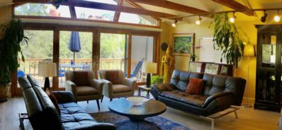 Our living room features a 16 foot wall of glass overlooking the Forest Service