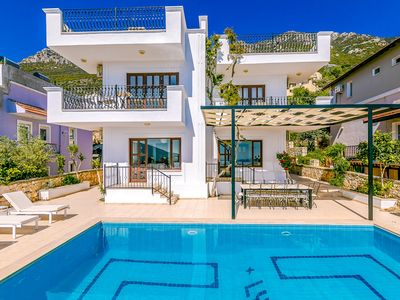 Photo for Villa Sunset Sunrise: Kalkan views, huge pool, A/C, WiFi