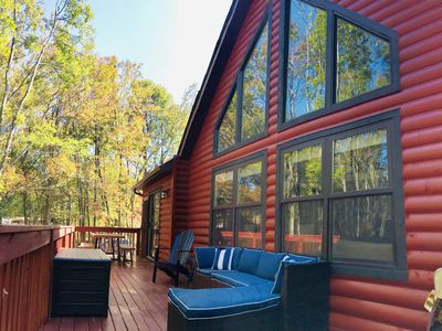 Photo for NEW Firepit! | Luxurious Lakefront Chalet | Dock | Kayaks | Gameroom | Fireplace