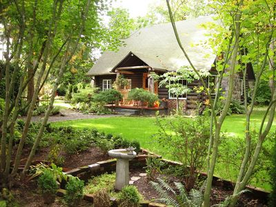 Photo for Gated Log Cabin featured in national magazines w/hot tub and beautiful gardens.