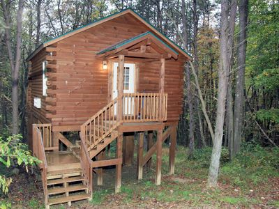 Photo for Cabin that sleeps 2 with a hot tub out in the woods!