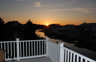 Sunset from the upper deck a favortie spot for dining or relaxing