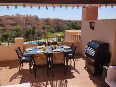 Photo for Stunning Penthouse Apartment with a Spacious Sunny Terrace and Pool Views
