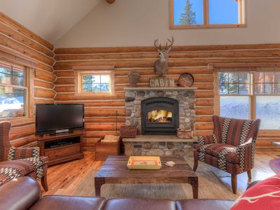 Photo for True Ski in/Out Montana Cabin, Access Out Back Door! Private Hot Tub & Fireplace