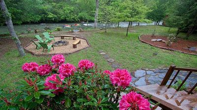 Photo for River Mist Log Cabin, Waterfront, HotTub, Fishing, WiFi, Fire Pit, Blue Ridge