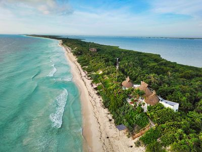 Aerial Ocean and lagoon view, this unique property has access to both + Privacy
