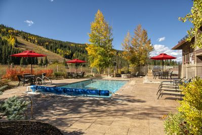 Looking west from the heated pool area toward the gondola and ski runs.