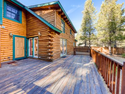 Photo for NEW LISTING! Mountain log cabin w/ enclosed yard - close to skiing, hiking, golf