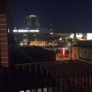 View at night from the balcony. US Airways Arena to the left.