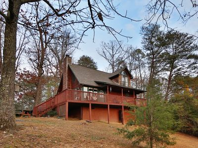 Photo for Immense deck with view of Bluff Mountain, wood-burning fireplace, bedside jacuzzi and country charm.