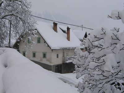 The Alpine Retreat under a blanket of snow (before the refurbishment)
