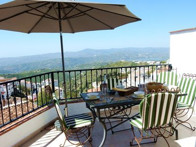 2nd floor dining with views over village, lake, hills, to sea.  Divine sunsets!