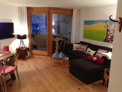 Photo for Chalet-apartment in Flims Laax with balcony, swimming pool, sauna, Jacuzzi, wireless and TG