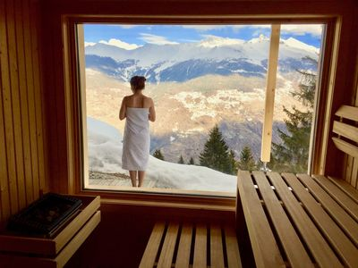 Photo for Hike & Ski in Beautiful Swiss Alps. Panorama-Sauna, close to Ski-Lift.