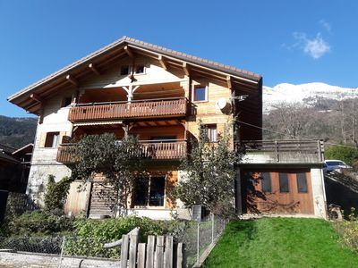 Photo for Two-unit chalet with breathtaking views from the south terrace near the village.