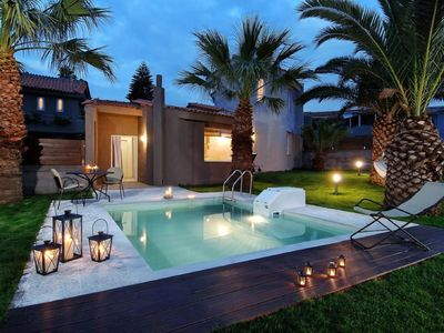 Photo for This 1-bedroom villa for up to 3 guests is located in Anissaras and has a private swimming pool, air