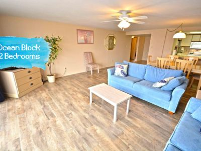 Photo for Stylish, spacious 2 bedroom condo with free WiFi, an indoor pool, and HBO channels located uptown near mini golf and movie theater and only a block to the beach!